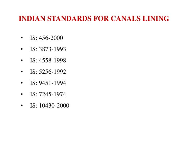 INDIAN STANDARDS FOR CANALS