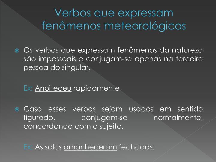 Verbos que expressam fenômenos meteorológicos