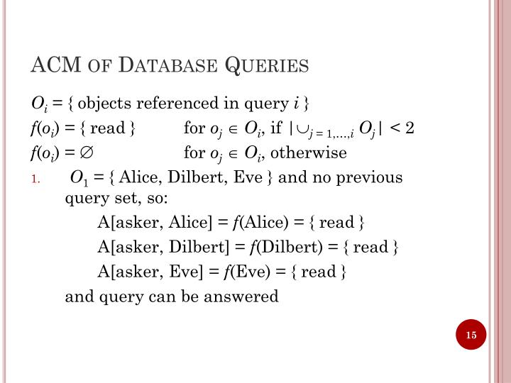 ACM of Database Queries
