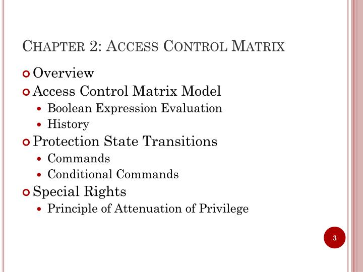 Chapter 2: Access Control Matrix