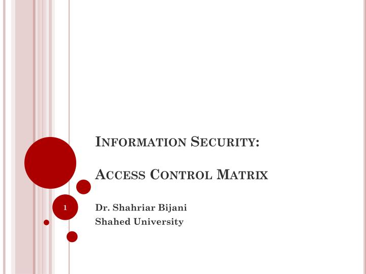 Information security access control matrix