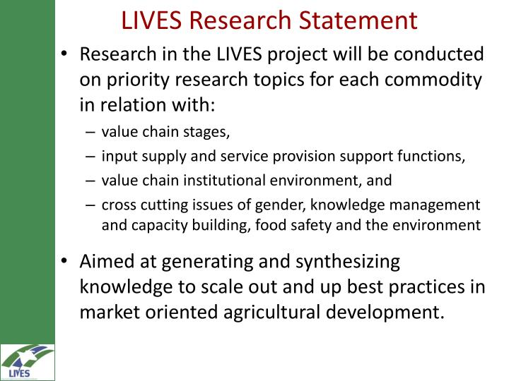 LIVES Research Statement