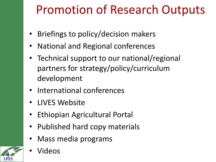Promotion of Research Outputs