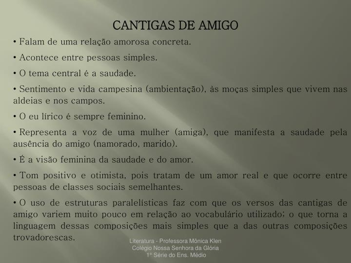 CANTIGAS DE AMIGO
