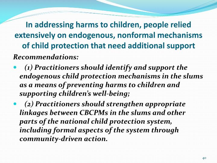 In addressing harms to children, people relied extensively on endogenous,