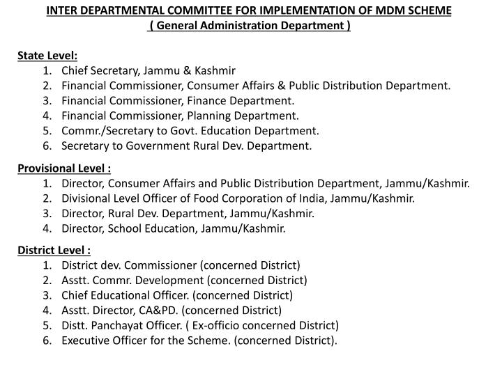 INTER DEPARTMENTAL COMMITTEE FOR IMPLEMENTATION OF MDM