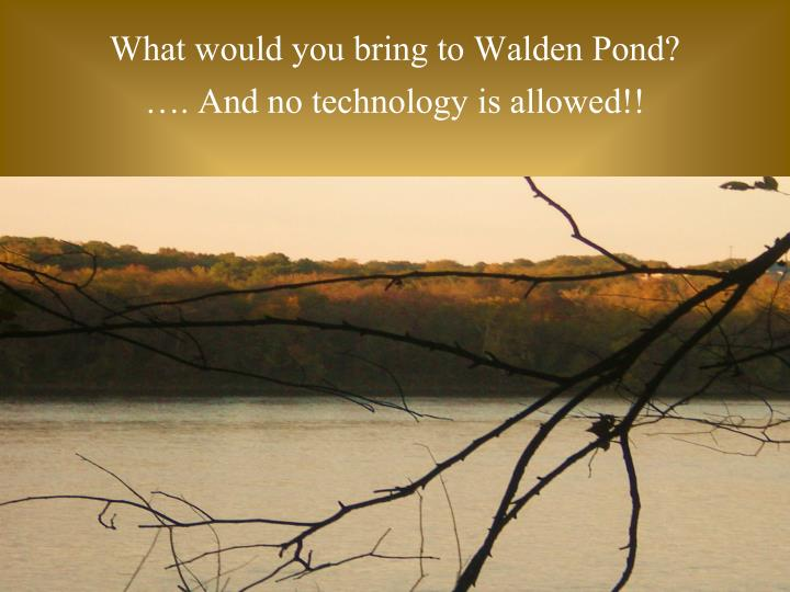 What would you bring to Walden Pond?