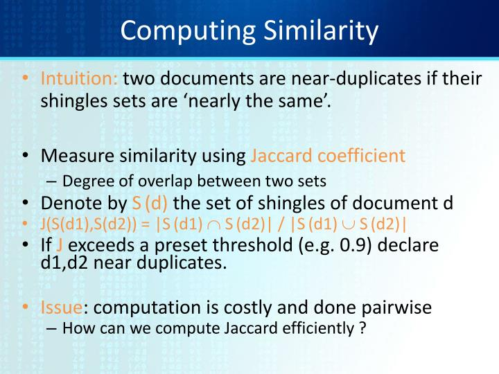 Computing Similarity