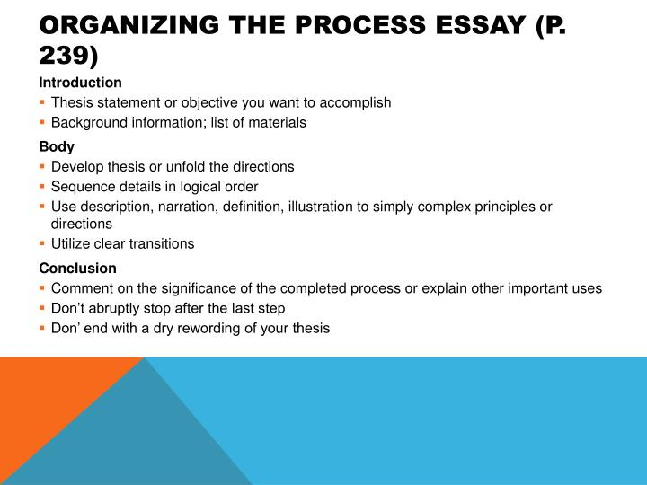 Organizing the Process Essay (p. 239)