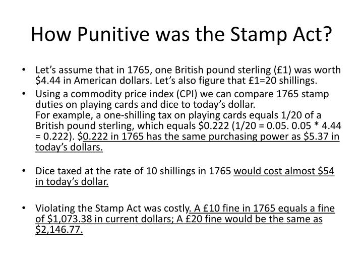 How Punitive was the Stamp Act?