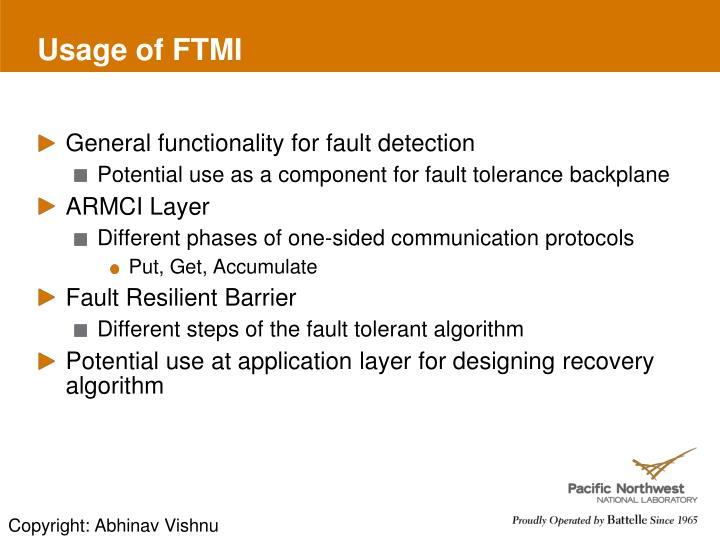 Usage of FTMI
