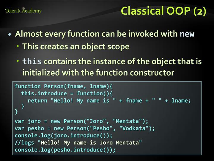 Classical OOP (2)