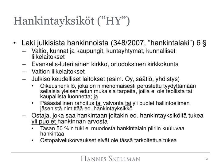 """Hankintayksiköt (""""HY"""")"""