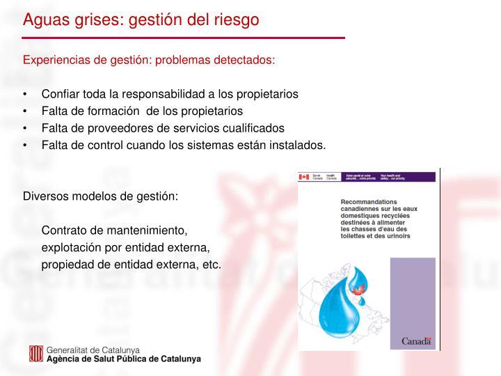 Aguas grises: gestión del riesgo