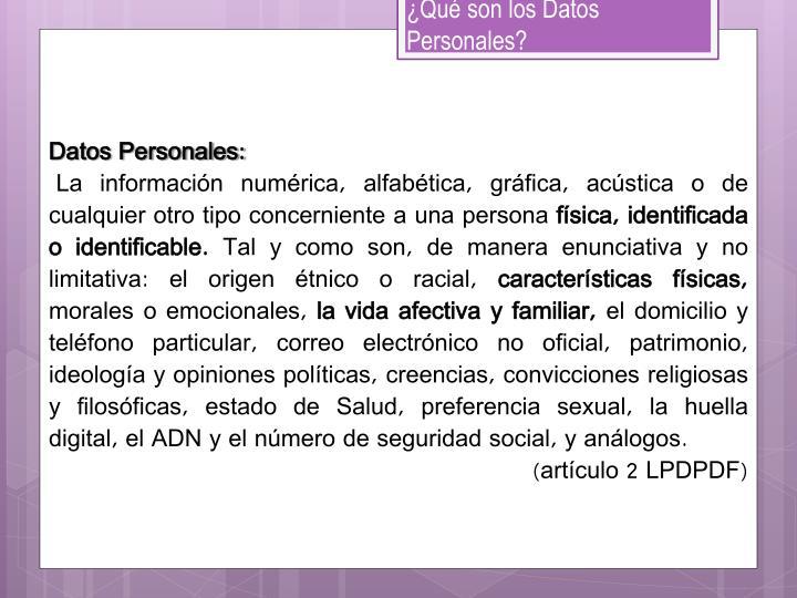 ¿Qué son los Datos Personales?
