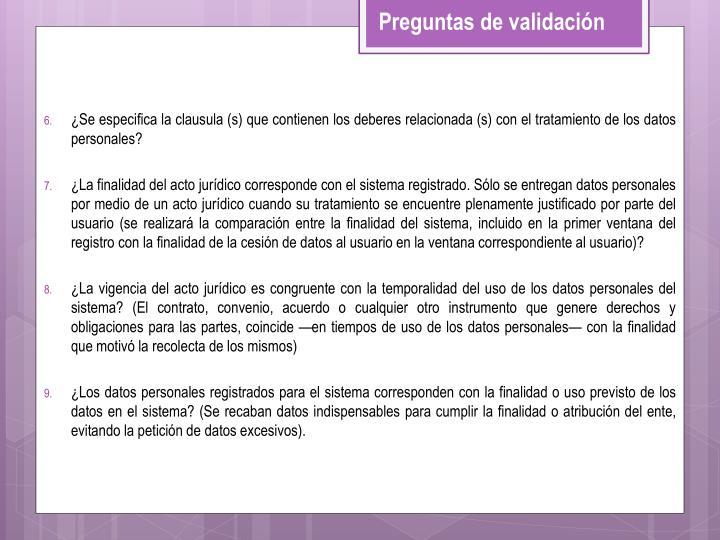 ¿Se especifica la clausula (s) que contienen los deberes relacionada (s) con el tratamiento de los datos personales?