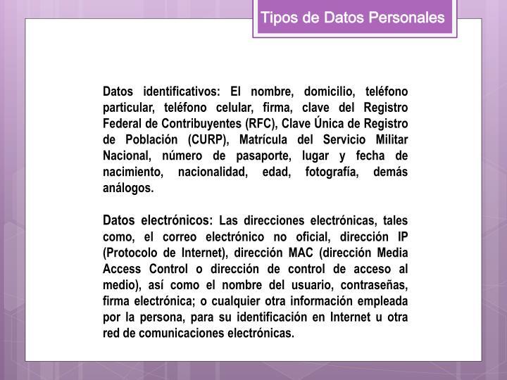 Tipos de Datos Personales