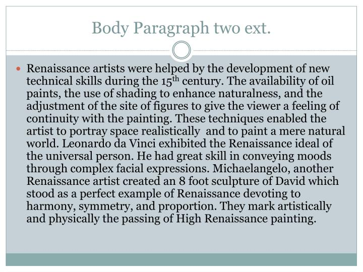 Body Paragraph two ext.