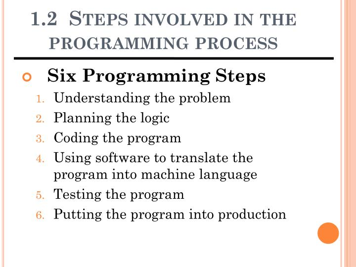 an overview of programming and the process of programming Programming is the process of creating a set of instructions that tell a computer how to perform a task programming can be done using a variety of computer  languages, such as sql, java, python, and c+.