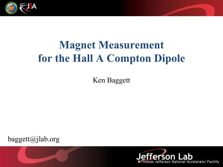 magnet measurement for the hall a compton dipole