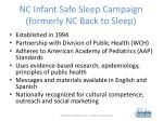 nc infant safe sleep campaign formerly nc back to sleep
