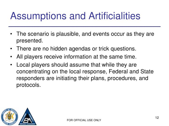 Assumptions and Artificialities