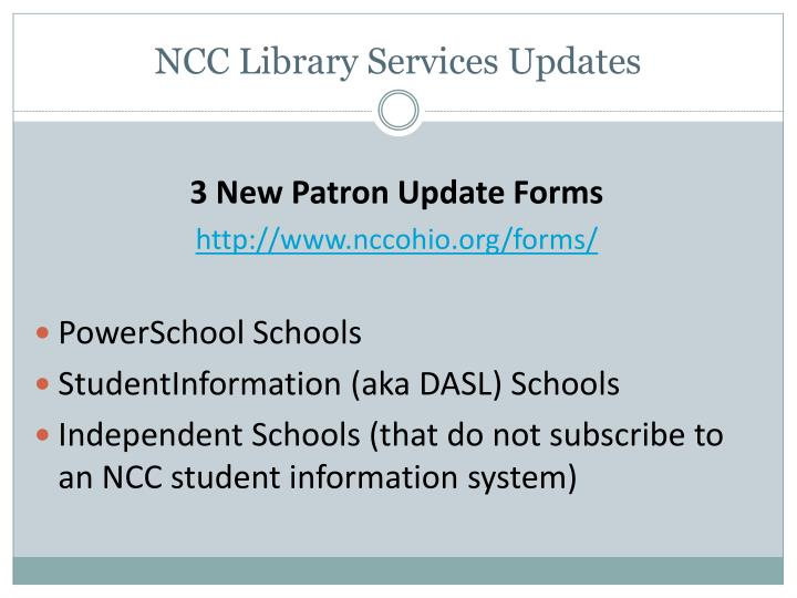 NCC Library Services Updates