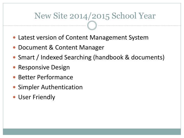 New Site 2014/2015 School Year