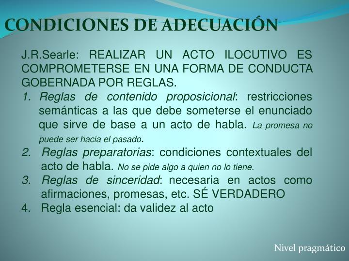 CONDICIONES DE ADECUACIÓN