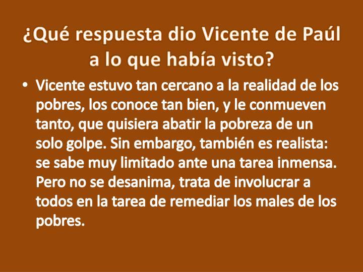 Qu respuesta dio Vicente de Pal a lo que haba visto