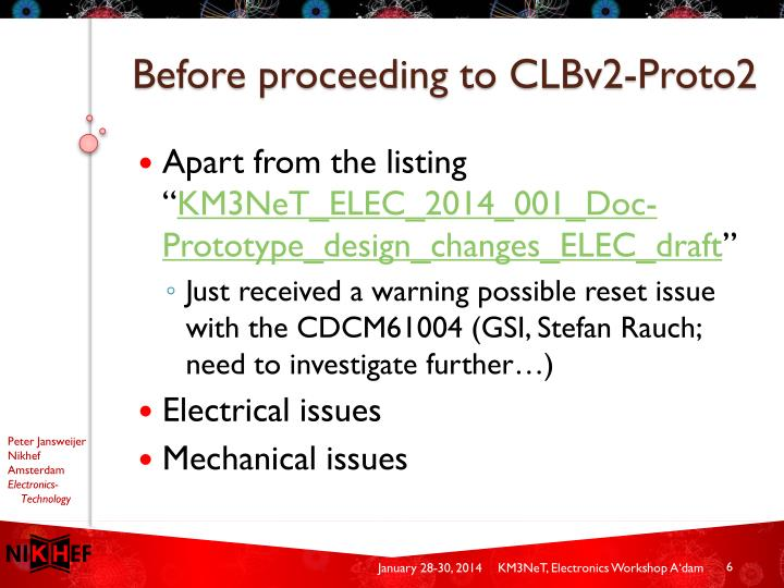 Before proceeding to CLBv2-Proto2