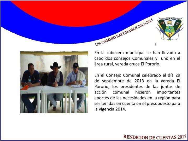 En la cabecera municipal se han llevado a cabo dos consejos Comunales y  uno en el área rural, vereda cruce El Pororio.