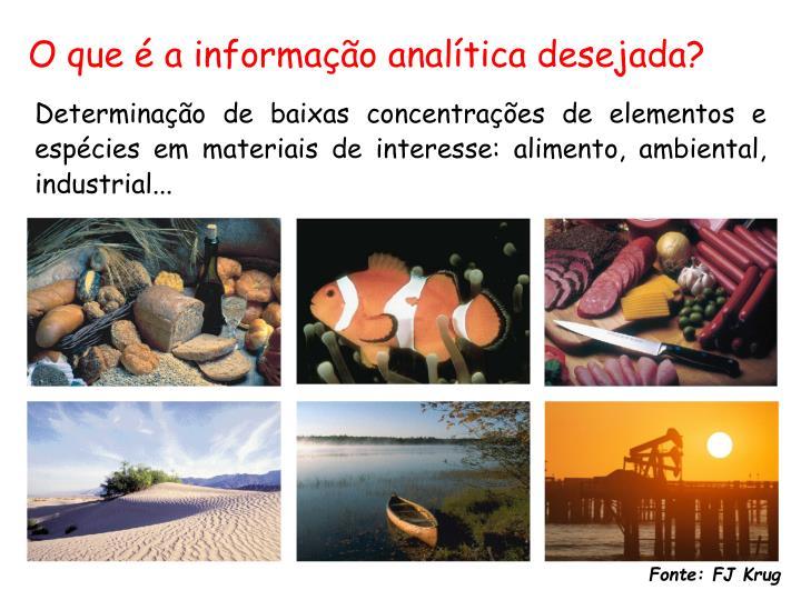 O que é a informação analítica desejada?