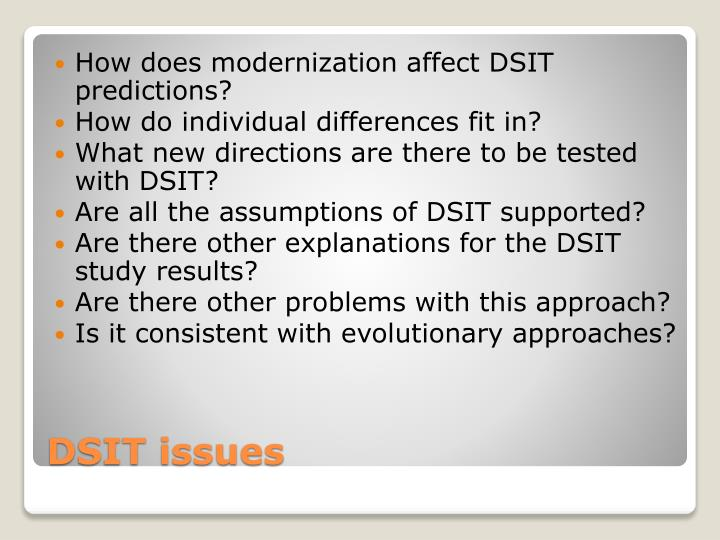 How does modernization affect DSIT predictions?