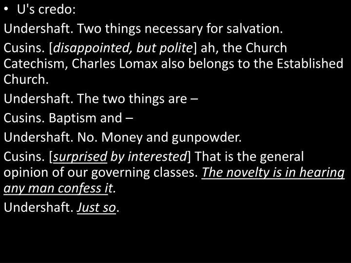 U's credo: