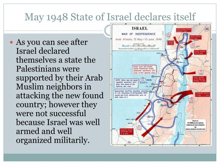May 1948 State of Israel declares itself