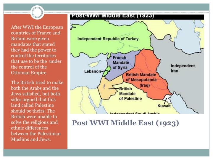 After WWI the European countries of France and Britain were given mandates that stated they had the power to control the territories that use to be the  under the control of the Ottoman Empire.