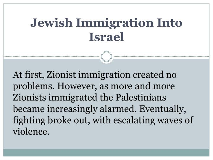 Jewish Immigration Into Israel