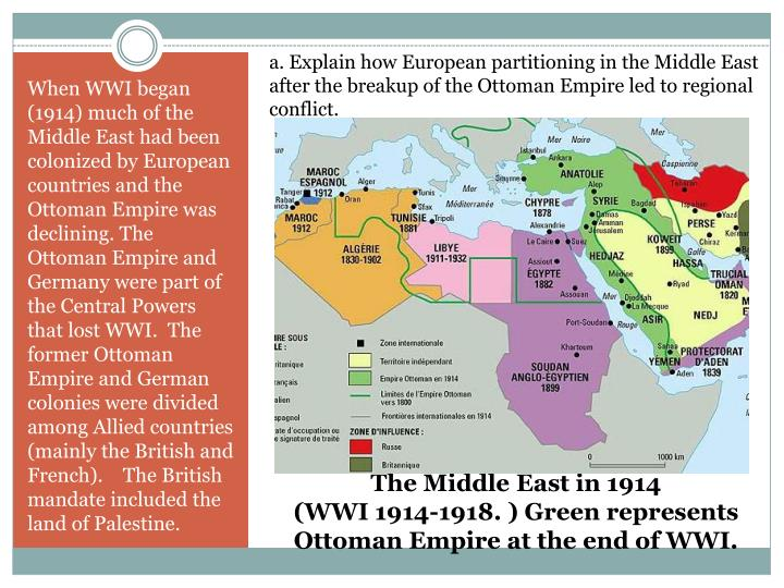 a. Explain how European partitioning in the Middle East after the breakup of the Ottoman Empire led to regional conflict.