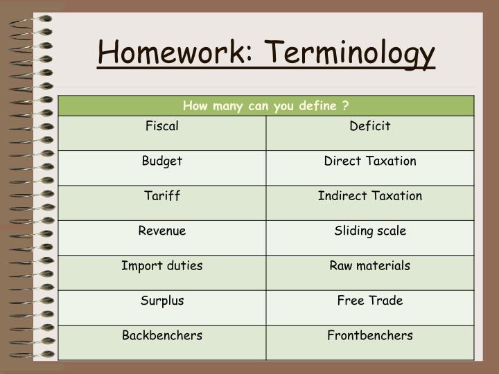 Homework: Terminology