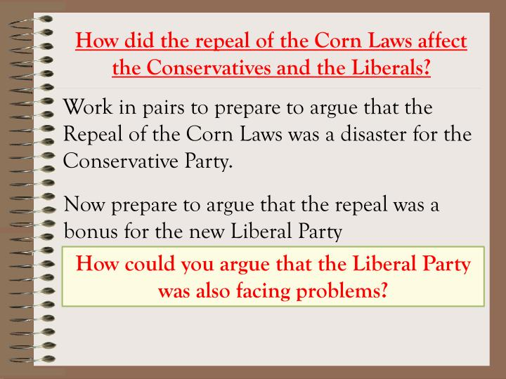 How did the repeal of the Corn Laws affect the Conservatives and the Liberals?