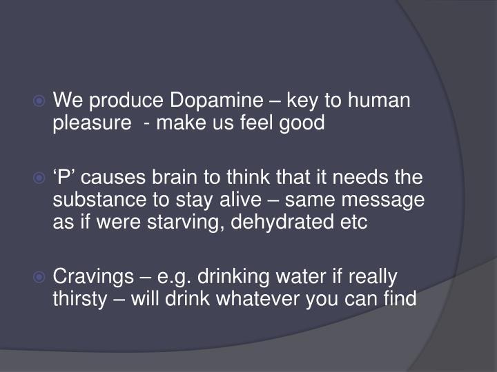 We produce Dopamine – key to human pleasure  - make us feel good