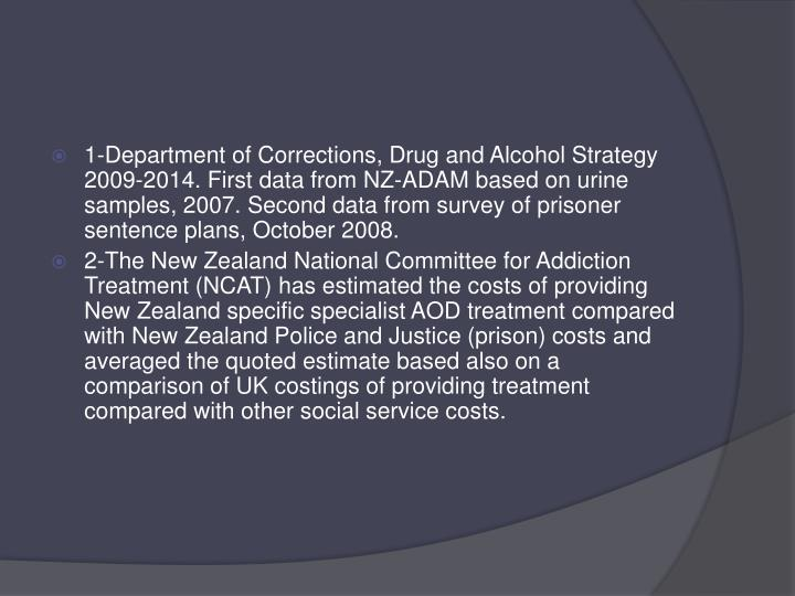 1-Department of Corrections, Drug and Alcohol Strategy 2009-2014. First data from NZ-ADAM based on urine samples, 2007. Second data from survey of prisoner sentence plans, October 2008.