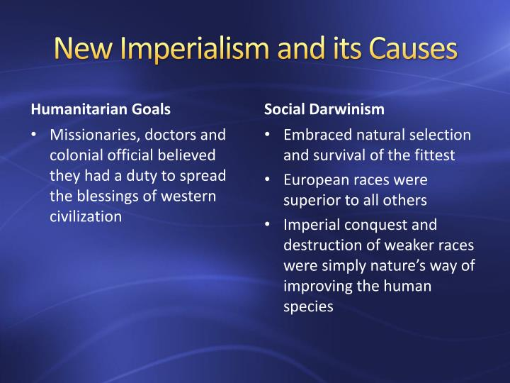 causes of new imperialism What were the causes of imperialism an introduction to essay writing student presentations based on culpin and henig 'origins, motives and explanations of imperialism.