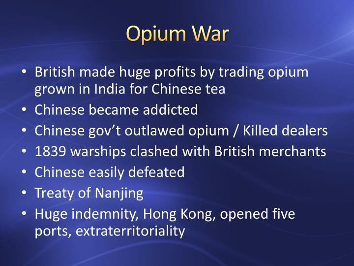 the causes and effects of the opium war in 1839 in china The first opium war the opium wars arose from china's attempts to suppress the opium trade and the opium war (1839–42) effect on china.