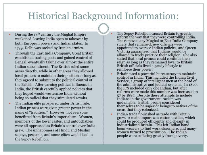 Historical Background Information: