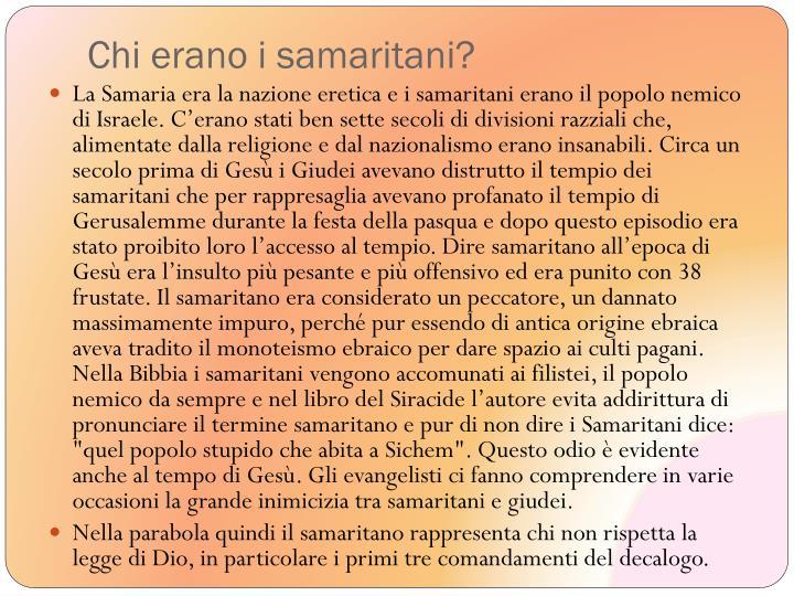 Chi erano i samaritani?