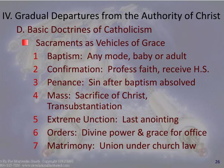 IV. Gradual Departures from the Authority of Christ