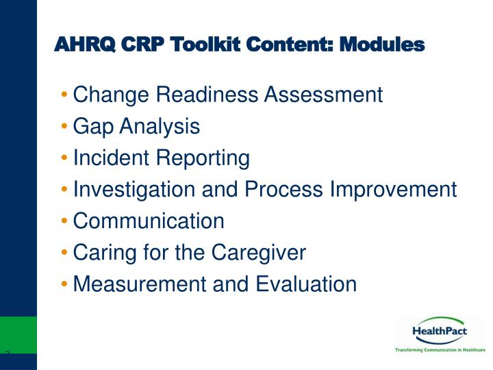 AHRQ CRP Toolkit Content: Modules