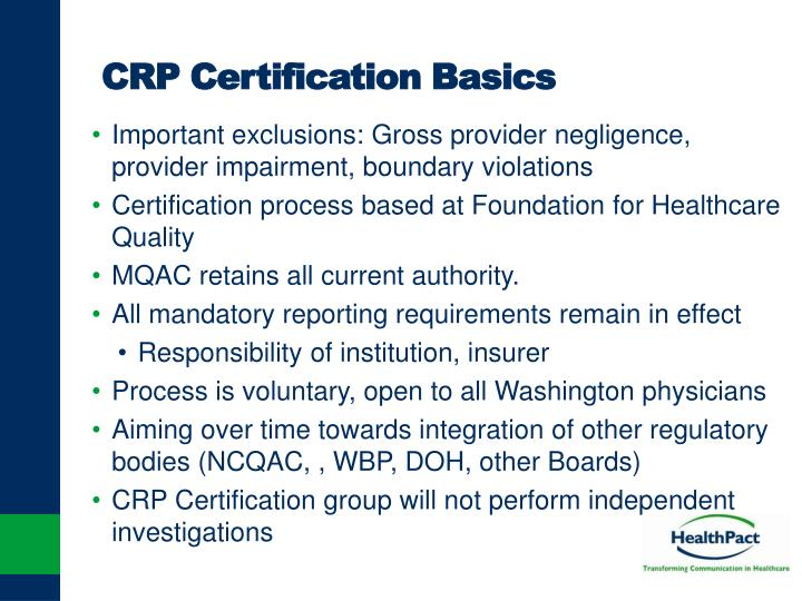 CRP Certification Basics